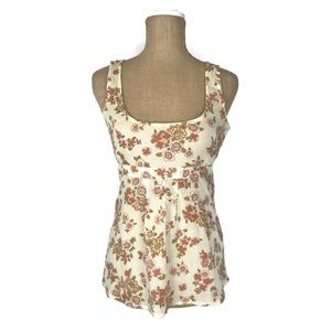 Anthropologie Top Ivory Floral Tie Waist Tank